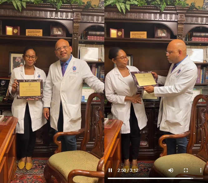 Dr Angelo Gousse with Dr Deborah Pierre Haitian Urology Fellow 2021